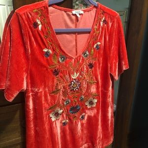 ♦️Boutique Red Velvet embroider Shirt